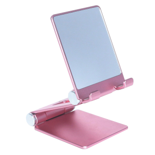 Desktop Phone Stand Metal Foldable and Retractable Mobile Phone Live Broadcast Universal Holder with Makeup Mirror thumbnail
