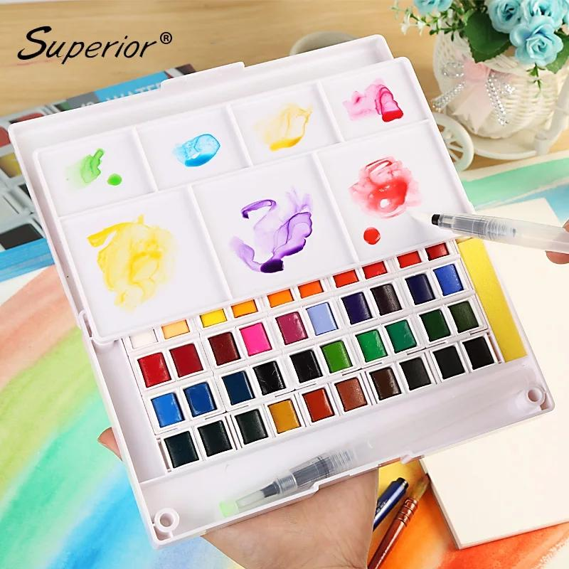 Superior Solid Watercolor Set Of 12, 24 Or 48 Colours By Nomads Cart.