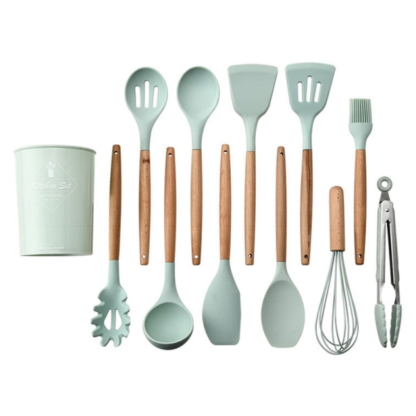 12Pcs Kitchen Utensil Set Silicone Cooking Utensils Cooking Spatula Heat Resistant Tools With Wooden Handle For Nonstick Non Scratch Cookware