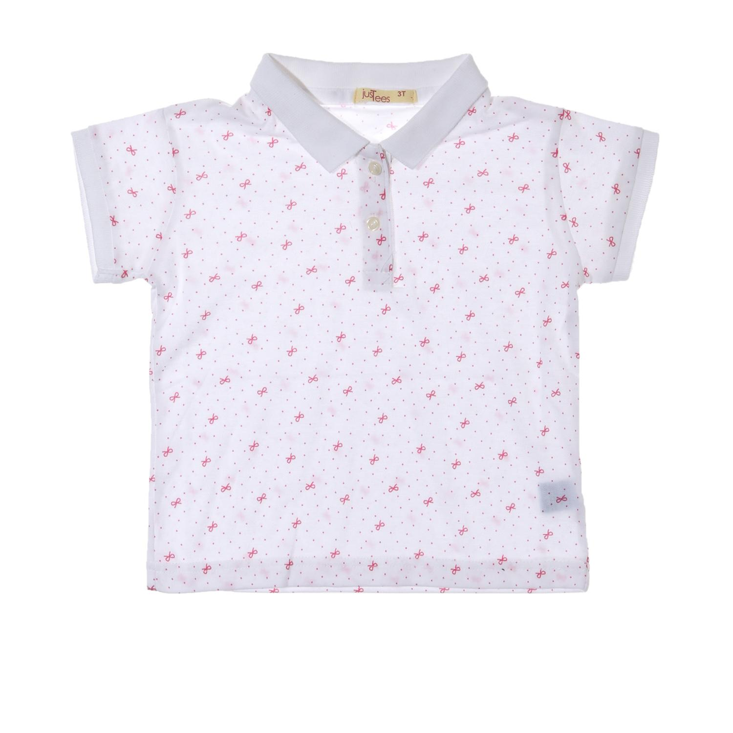 c322c3aa3 jusTees Girls Bow Pique Polo Shirt in White