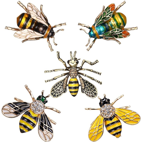 Cute Honeybee Animal Insect Brooches Pin Bee Shape Corsages Scarf Clips Jewelry For Women Girls, 5Pcs Honeybee