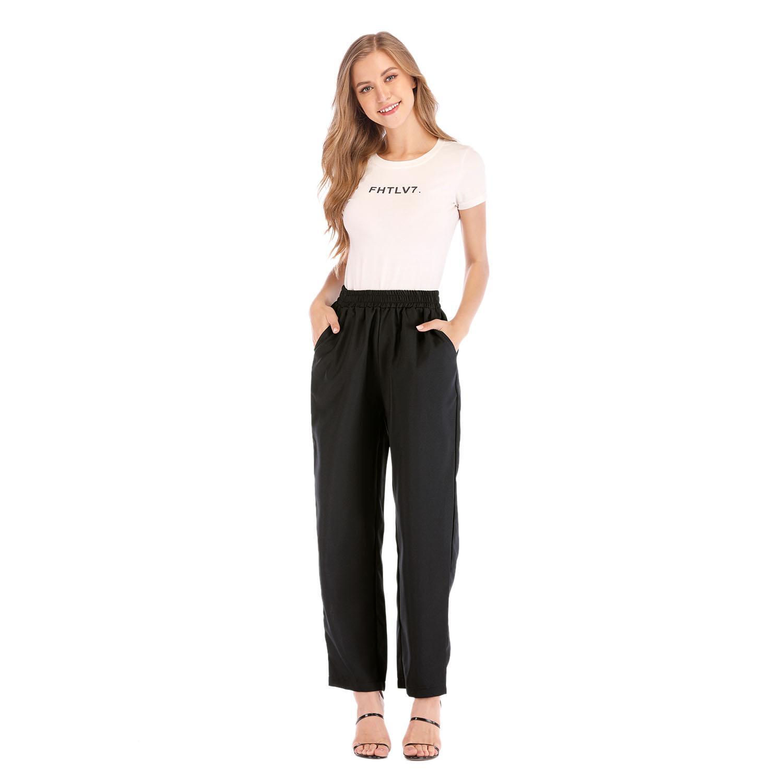 ac35f710e7d7c Women Cotton Linen Solid Elastic Waist Pants Ladies Autumn Casual Loose  High Waist Pockets Long Pants