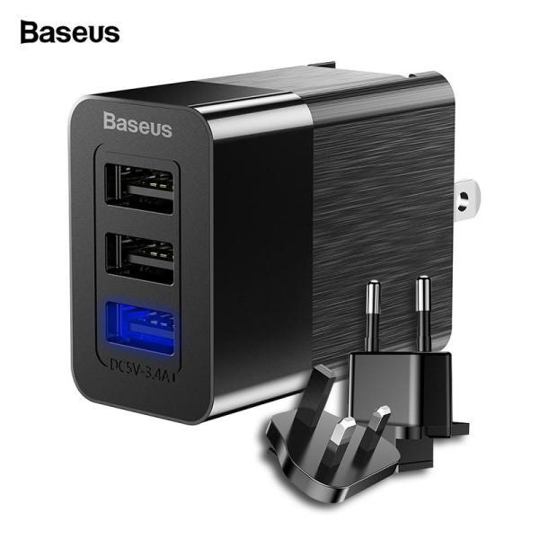 Baseus Bộ sạc USB 3 cổng 3 trong 1 Bộ ba EU US UK Cắm Bộ sạc tường du lịch 2.4A Bộ sạc điện thoại di động cho iPhone X Samsung