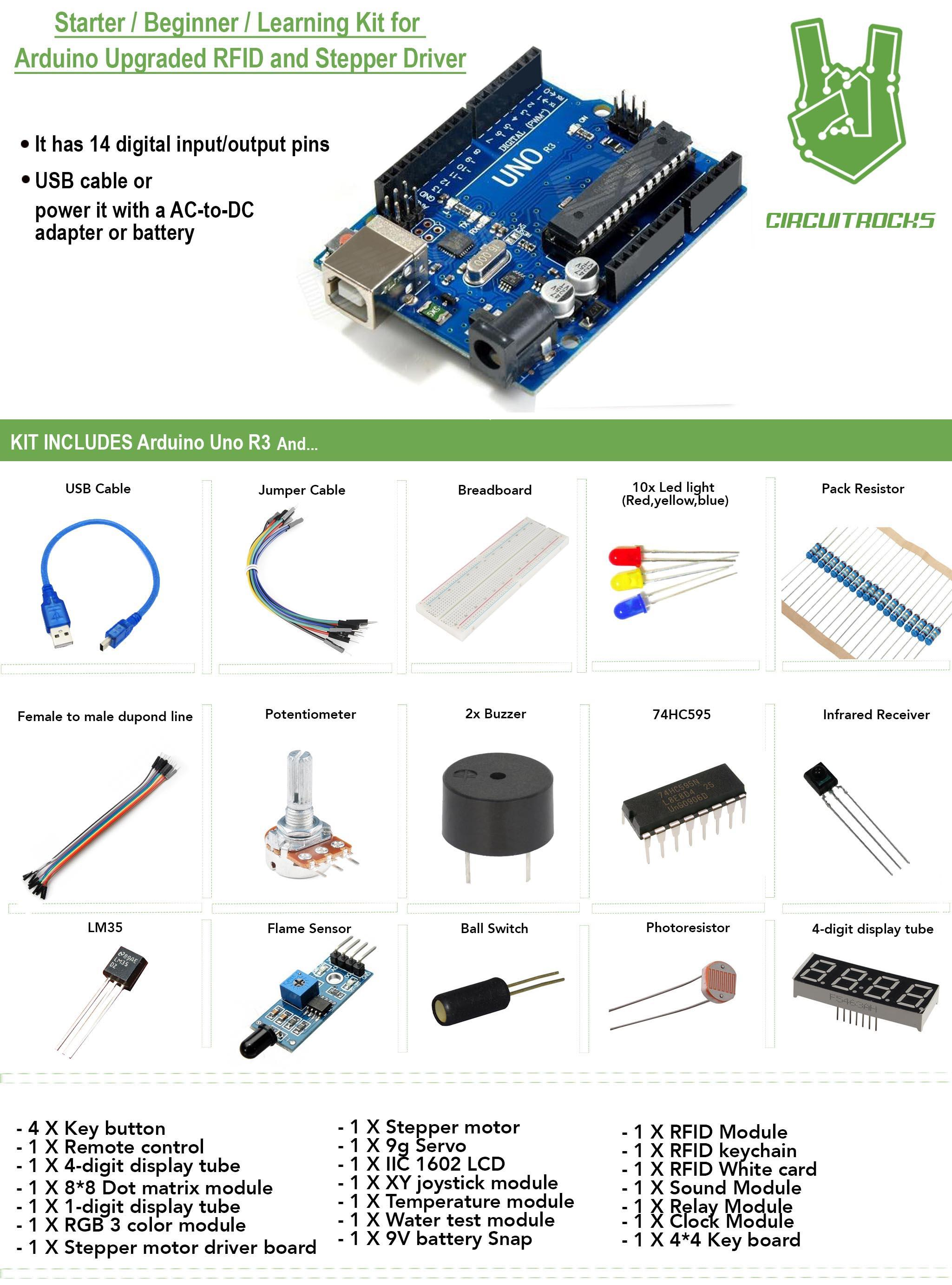 2019 Starter Kit for Arduino Upgraded RFID and Stepper Driver Latest