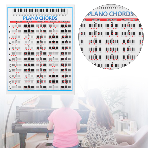 Large Poster For Students Kids Gift Chord Chart Practice Sticker 88 Key Beginner Tablature Piano Chords Fingering Diagram Malaysia