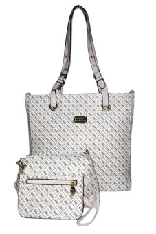 Elena 6048 Shoulder Bag with Sling Bag and Wallet (White)
