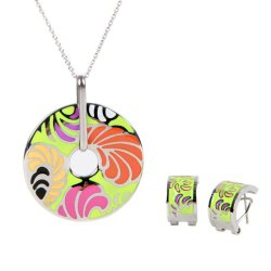 Enamel Necklace and Earring Set Silver Chain