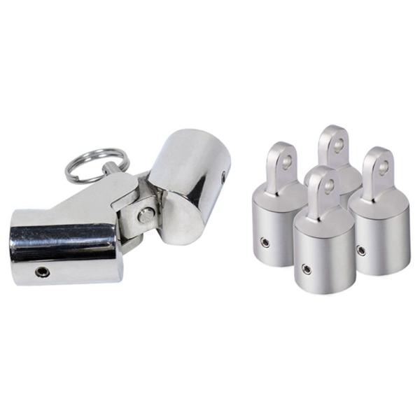 4Pcs 25mm Eye End Cap Bimini Top Eye End Cap & 1 Pcs 25.5mm Stainless Steel Folding Swivel Coupling Pipe Connector