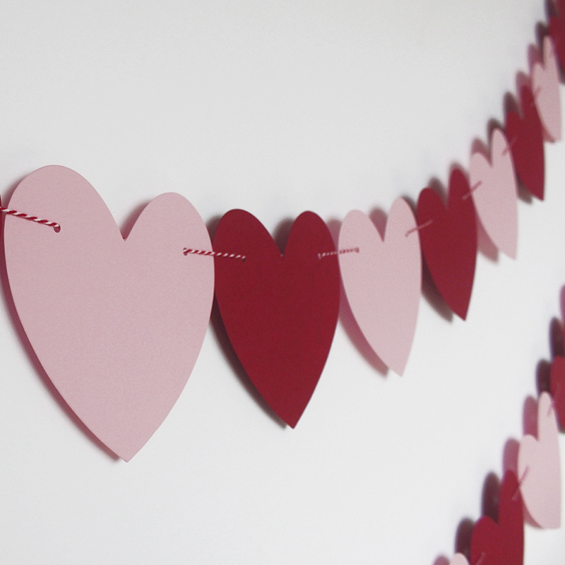 No Diy Anniversary Felt Heart Garland Banner Birthday Party Decorations Wedding Valentines Decorations Red Rose Red And Light Pink Color For Home Office Decor Valentines Day Banner Decor Party Supplies Banners