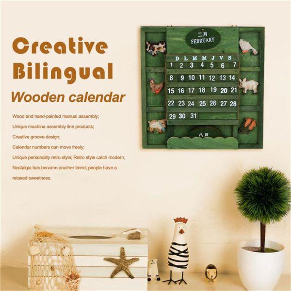 Mua Retro rustic creative bilingual furniture Mediterranean can hang wood manual calendar calendar crafts