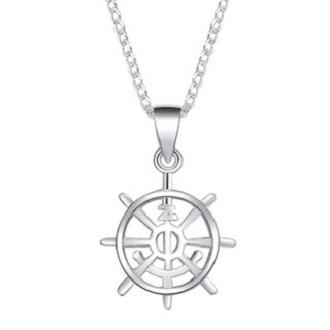 Silver Kingdom N232 Original 92 5 Italy Silver Boat Steering Wheel With  Anchor Design Necklace With Pendant