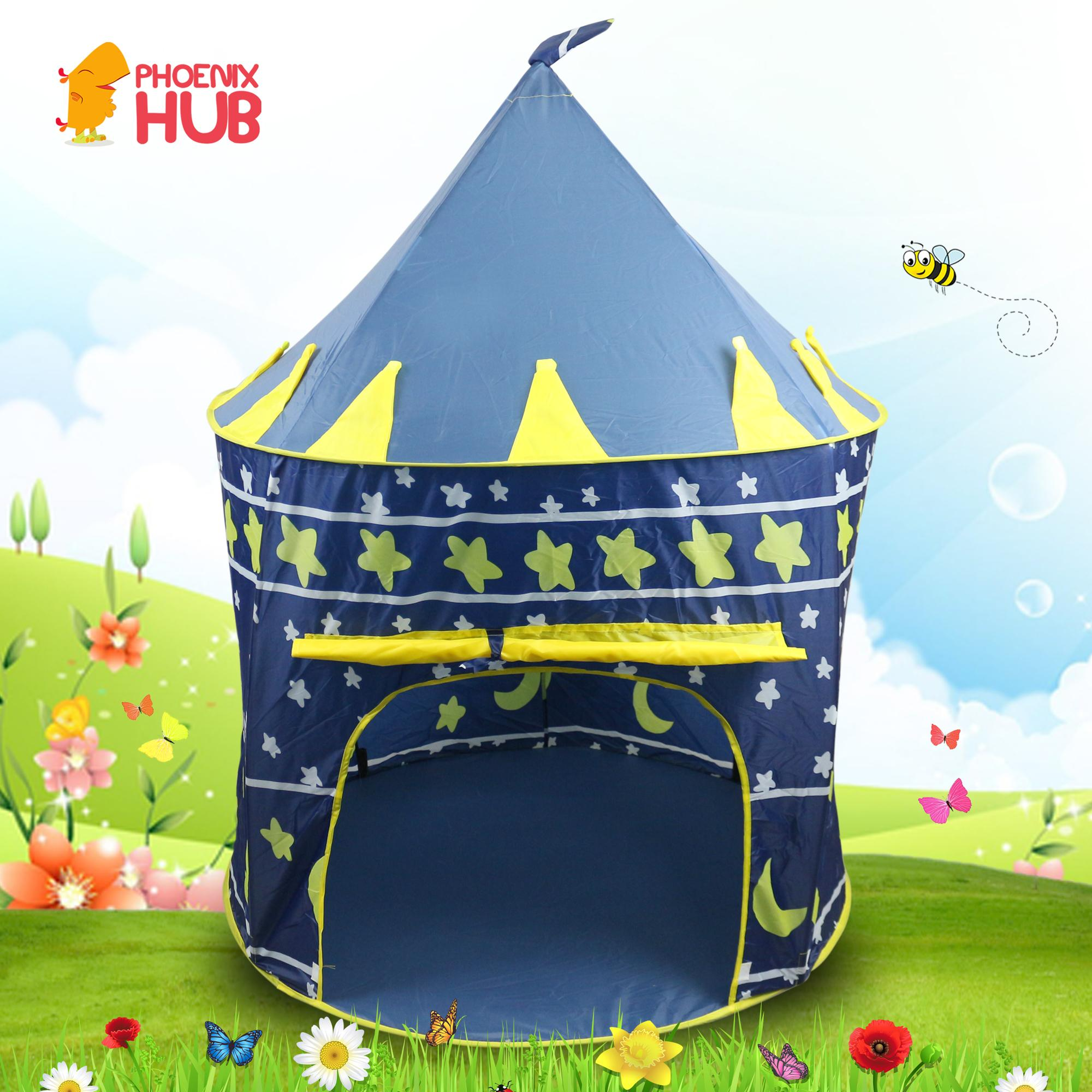 PhoenixHub Outdoor Indoor Portable Kids Play House Prince & Princess Castle Tent image