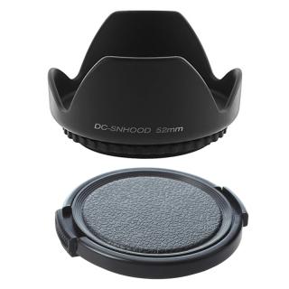 2 Pcs 52Mm Hard Tulip Lens Hood 1 Pcs for NIKON AF-S DX NIKKOR 18-55Mm & 1 Pcs Textured Black Plastic 52Mm Lens Cover thumbnail
