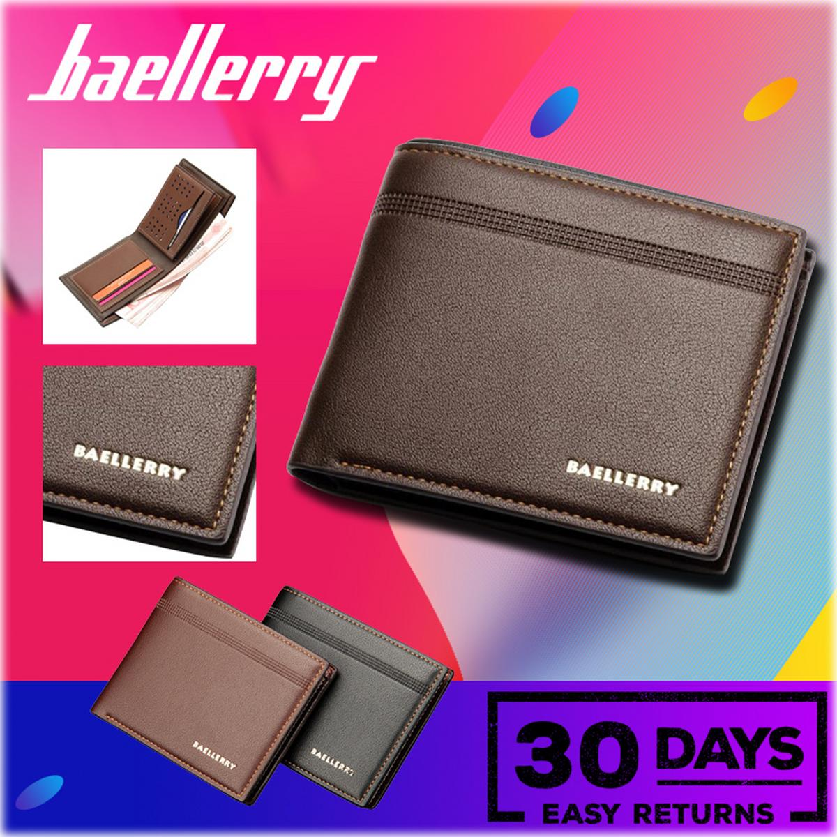 Baellerry Vintage Men PU Leather Short Wallet Money Cash Purse Business Billfold Pocket Credit Card Holder