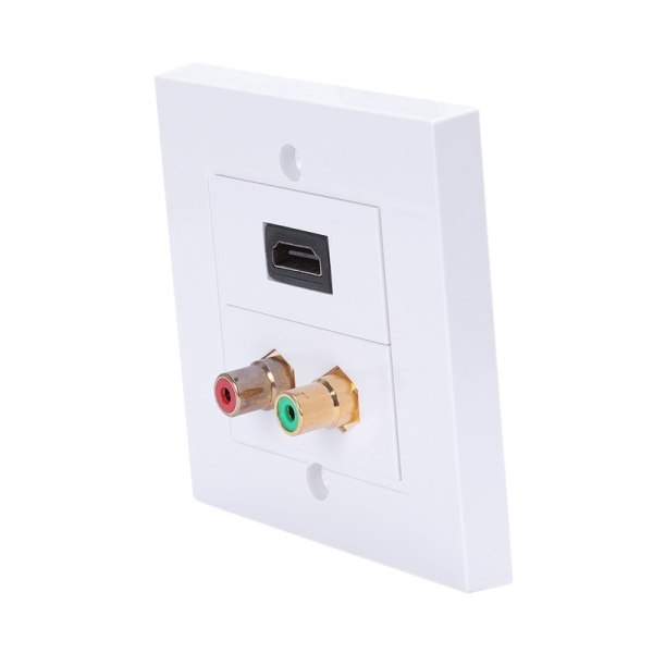 White Color Hdmi 2 Rca Wall Panel 86Mm Plate Audio Video Plug Socket Female To Female Rca Connector