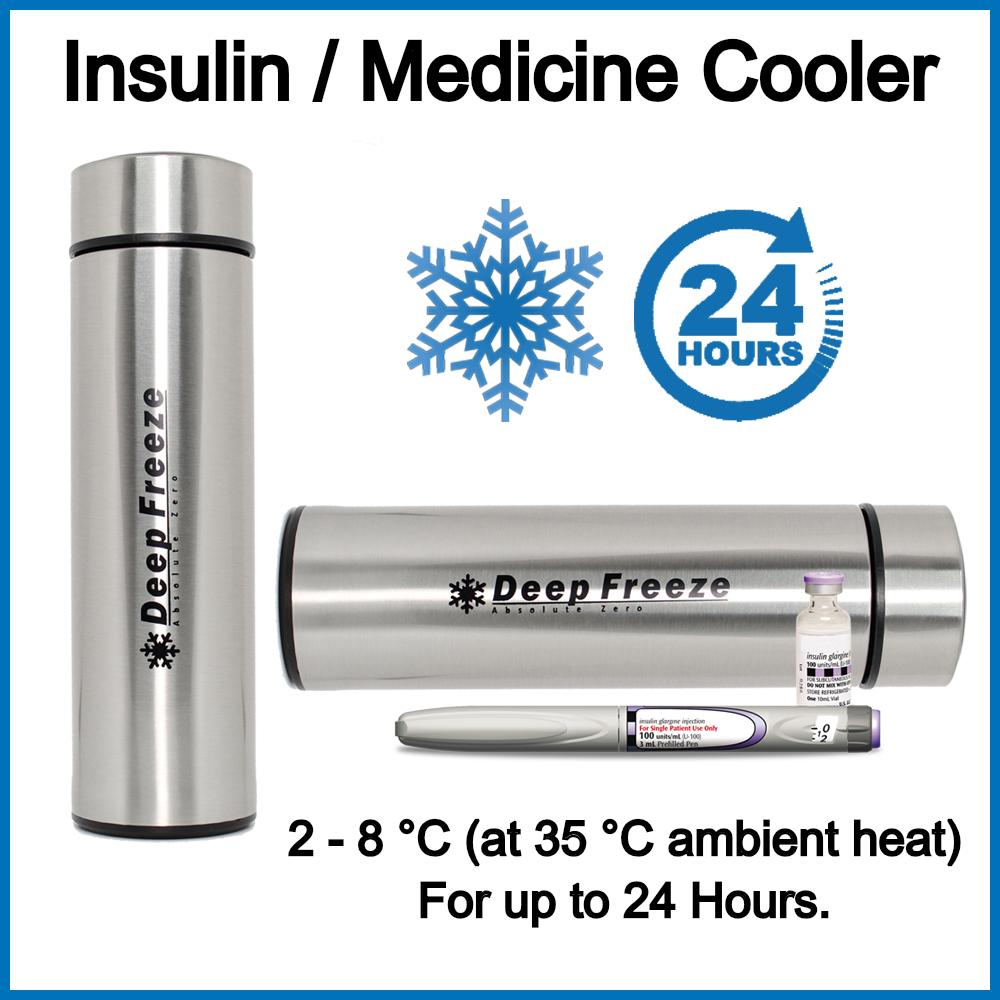 Insulin / Medicine Cooler Case (Silver)      Insulin Cooler Medicine Cooler Cup  Travel cooler image