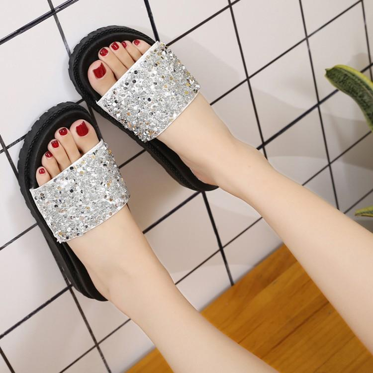 fd9b112b268c Korea Women Wedge SLippers Thick bottom Sequins one-line Sandals Flat  Simple Wearing Shoes