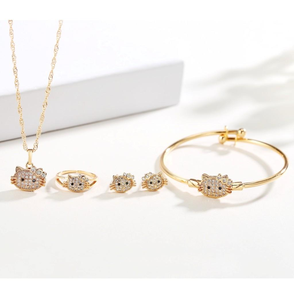 Ty Jewelry 4 In 1 Bangkok Rose Gold Hello Kitty Kids Set By Ty Fashion Jewelry.