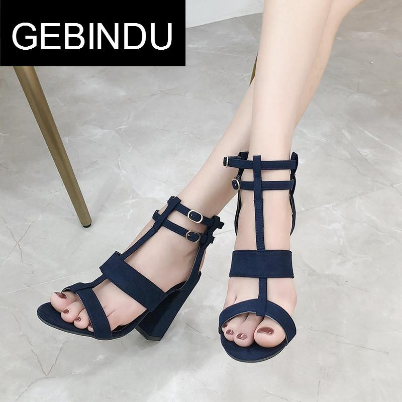 Gebindu Light Luxury 2018 Summer New Style Block Heel High Heel Shoes Open Toe Straight-