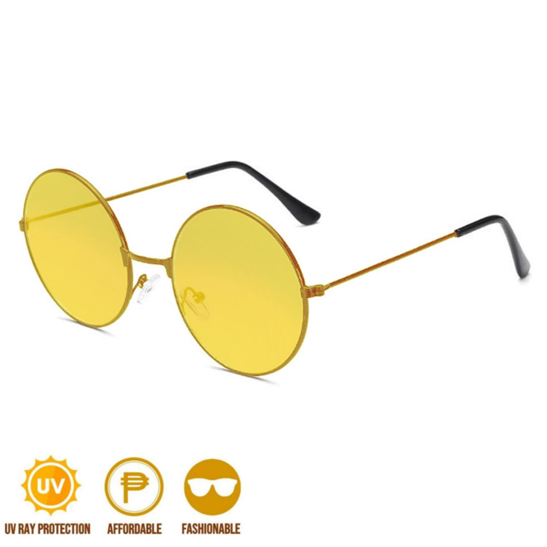 6344198217419 ANT Retro Round Style Harry Potter Colored Vintage Glasses Tint Sunglasses  Sunnies Shades Metal Frame Yellow