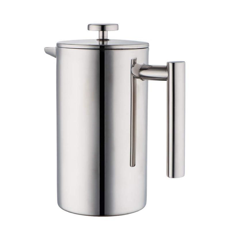 Stainless Steel French Press Coffee Maker   Double Walled Insulated Coffee & Tea Brewer Pot & Maker   Keeps Brewed Coffee or Tea Hot   34 Oz (1000 ml) with 3 Extra Filters