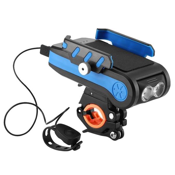Phân phối 4 in 1 Multi-Function Bike Light 2X T6 LED USB Rechargeable Bike Headlight Phone Holder Horn 4000Mah Bicycle Lamp