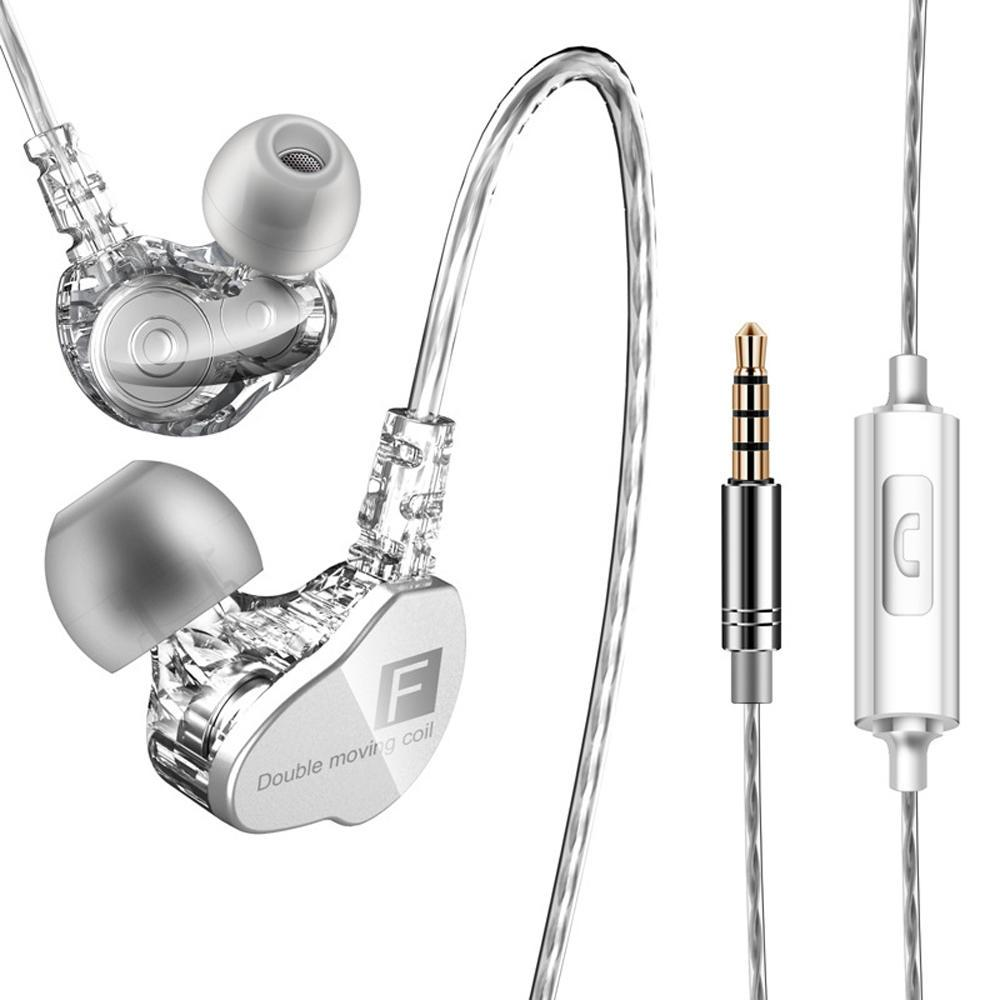a30343de429 Authentic QKZ CK9 3.5mm Wired Headphones Dual Moving Coil In-ear Headset  Heavy Bass