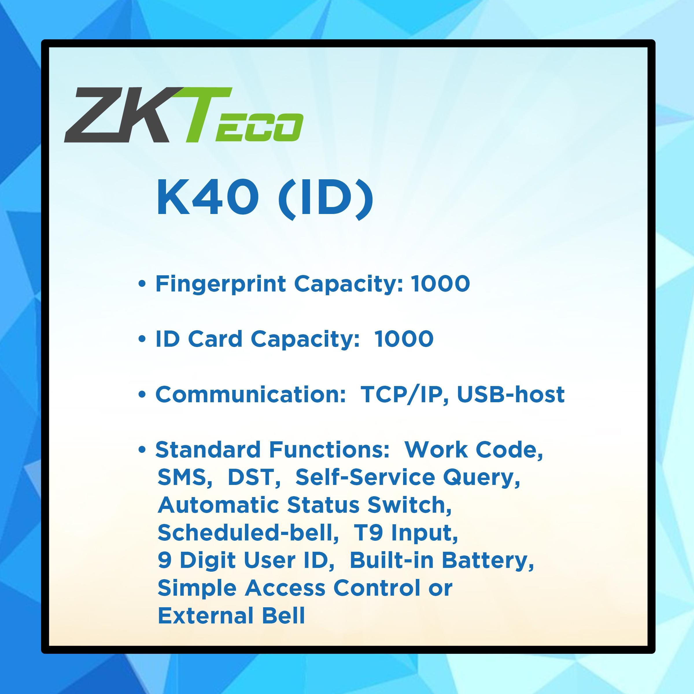 ZKTECO K40 Fingerprint Biometric Time Attendance Door Access Device