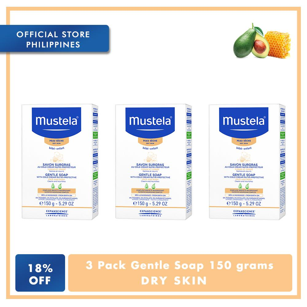Mustela 3 pack Gentle Soap with Cold Cream 150 grams, For dry Skin