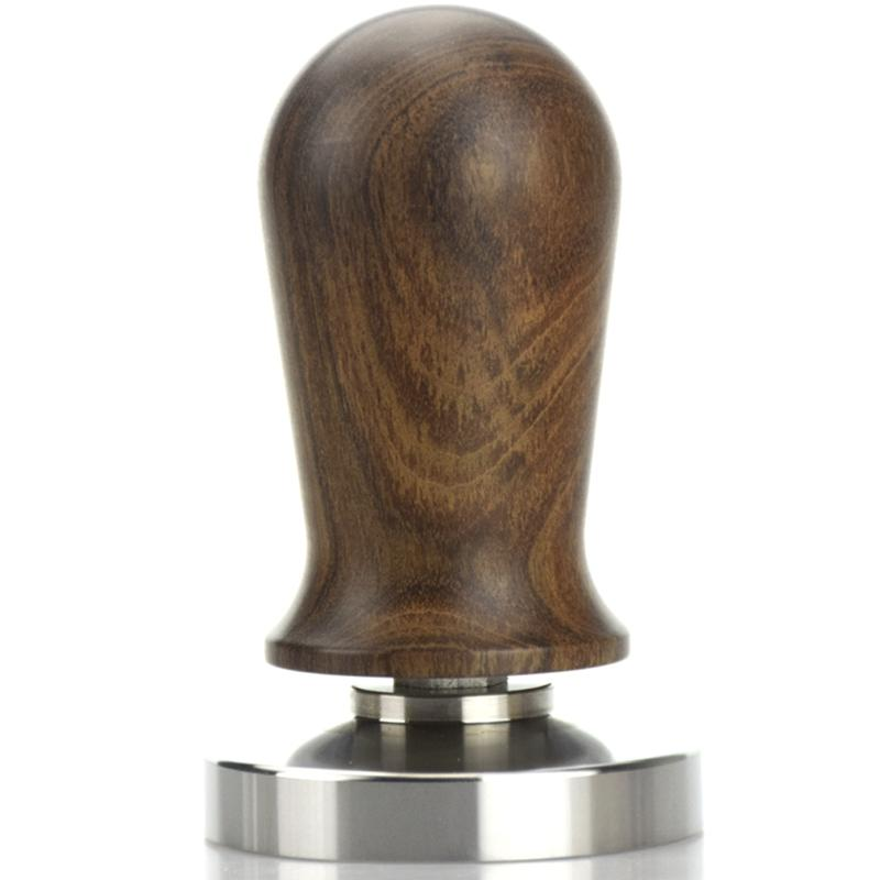 Chacate Preto Wood Handle Coffee Press Tamper Powder Hammer Stainless Steel Base Guibourtia Wood Barista Espresso Tamper 58Mm