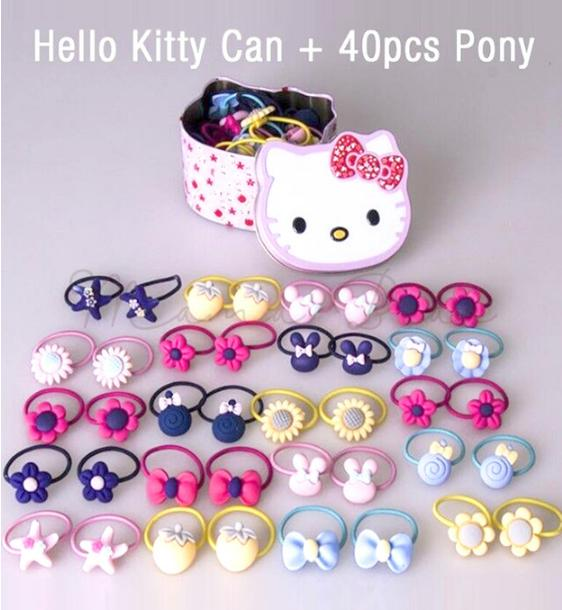 cbc1ae218b 40 Pieces Assorted Pony Tail Kitty Hair Tie with Can Kids Hair Tie Flower  Hair Band