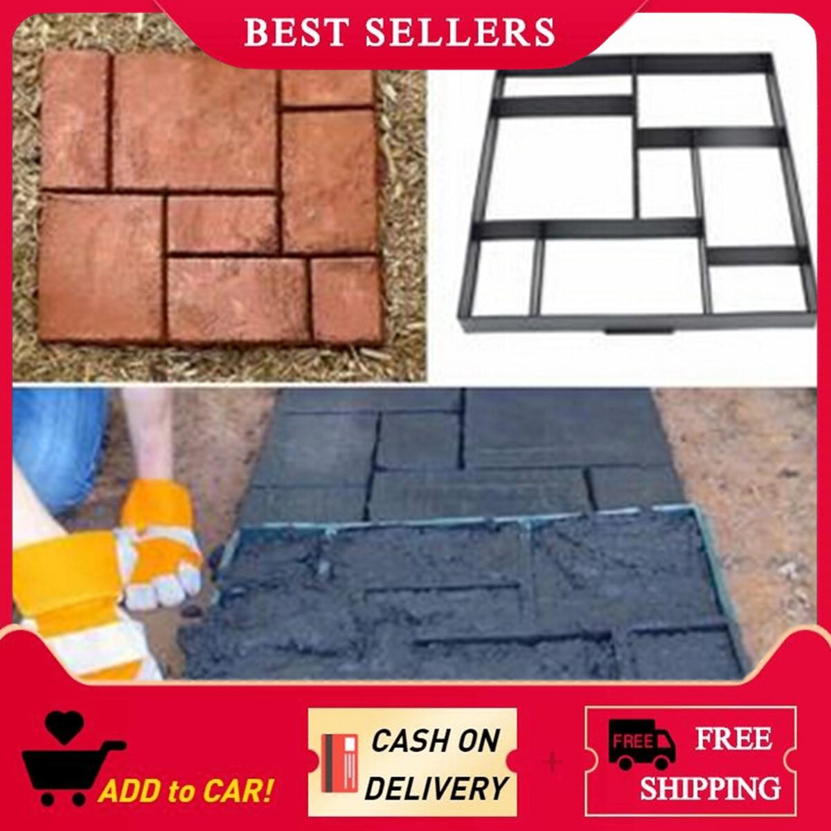 【Free Shipping】51cm Garden Plastic Path Maker Model Road Paving Cement Mould Brick Stone Road Philippines