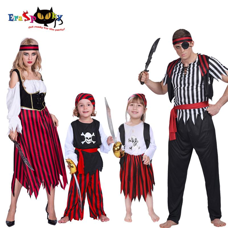 Pirate Halloween Costumes for Adult Kids Captain Jack Sparrow Cosplay Family Matching Costume