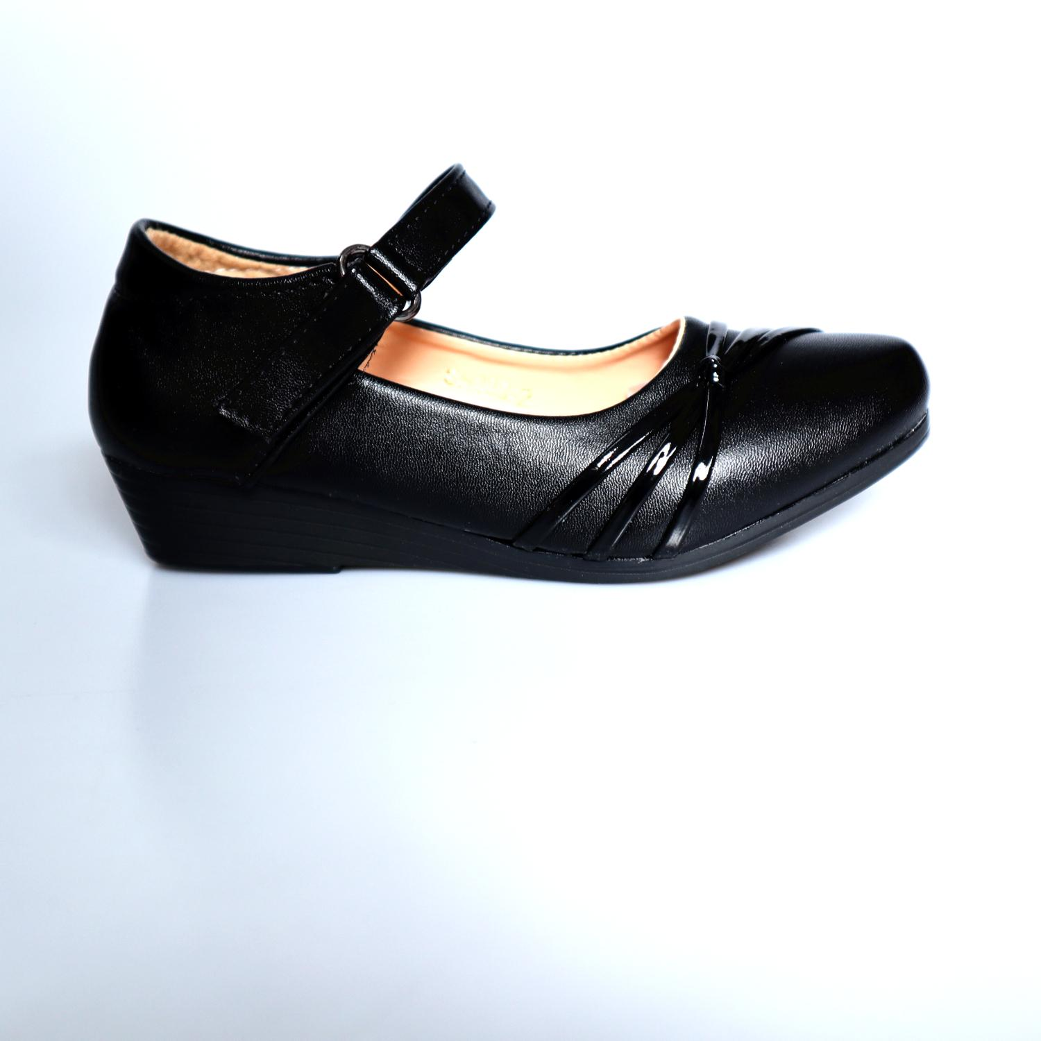 School Black Leather Shoes For Girls(size 24-35 ) By Trendy Queen Shop.