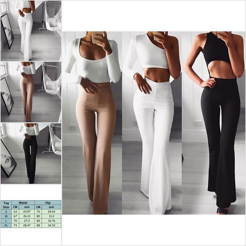 Women/'s Solid High Waist Flare Wide Leg Chic Trousers Bell Bottom Yoga Pants SER