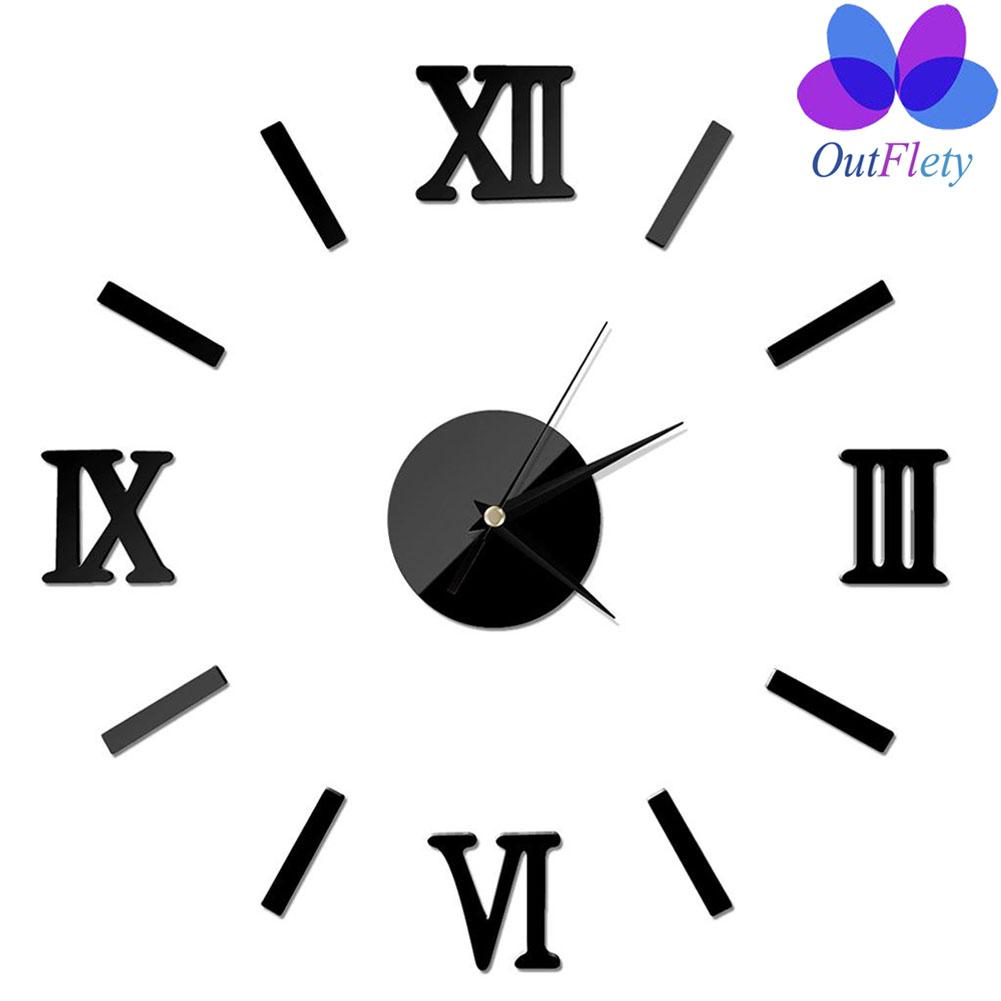 Outflety 3d Diy Mirror Wall Clock Large With Acrylic Roman Numbers Stickers For Home, Office, Living Room And Bedroom Decorations By Outflety.