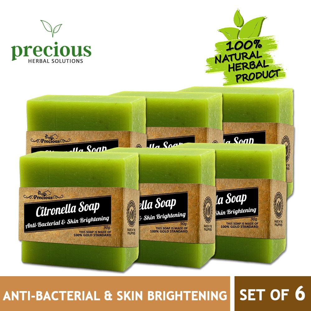 Precious Herbal Natural Citronella Soap SET OF 6 (90g each) for Whitening,  Anti-Acne, Anti-Aging, Speed Wound Healing, Treats Fungal Infections all