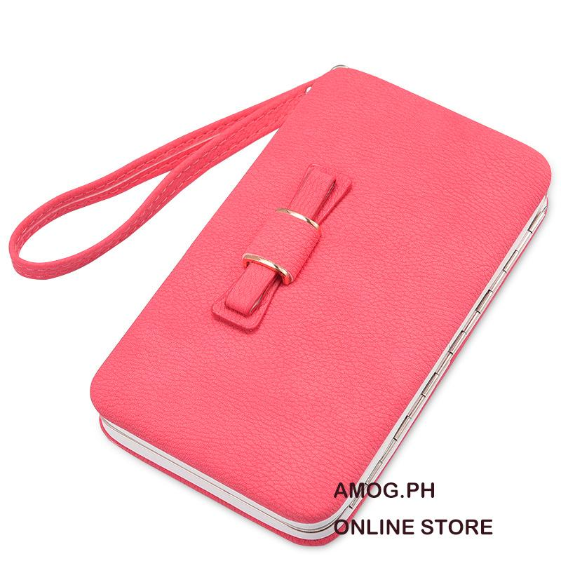 feb010048 AMOG Korean Cute Ribbon Long Wallet Phone Holder Clutch Cellphone Wallet  Handbag Card Holder Clutch