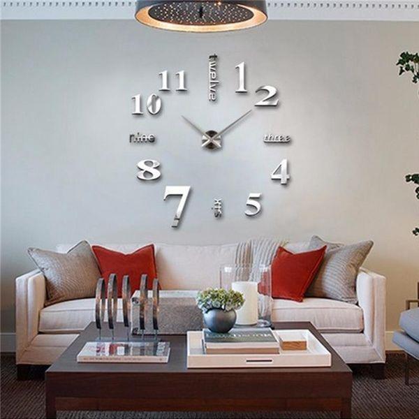 3d Large Wall Clock Mirror Sticker Big Watch Sticker Home Decor Unique Gift Diy By Rainning.