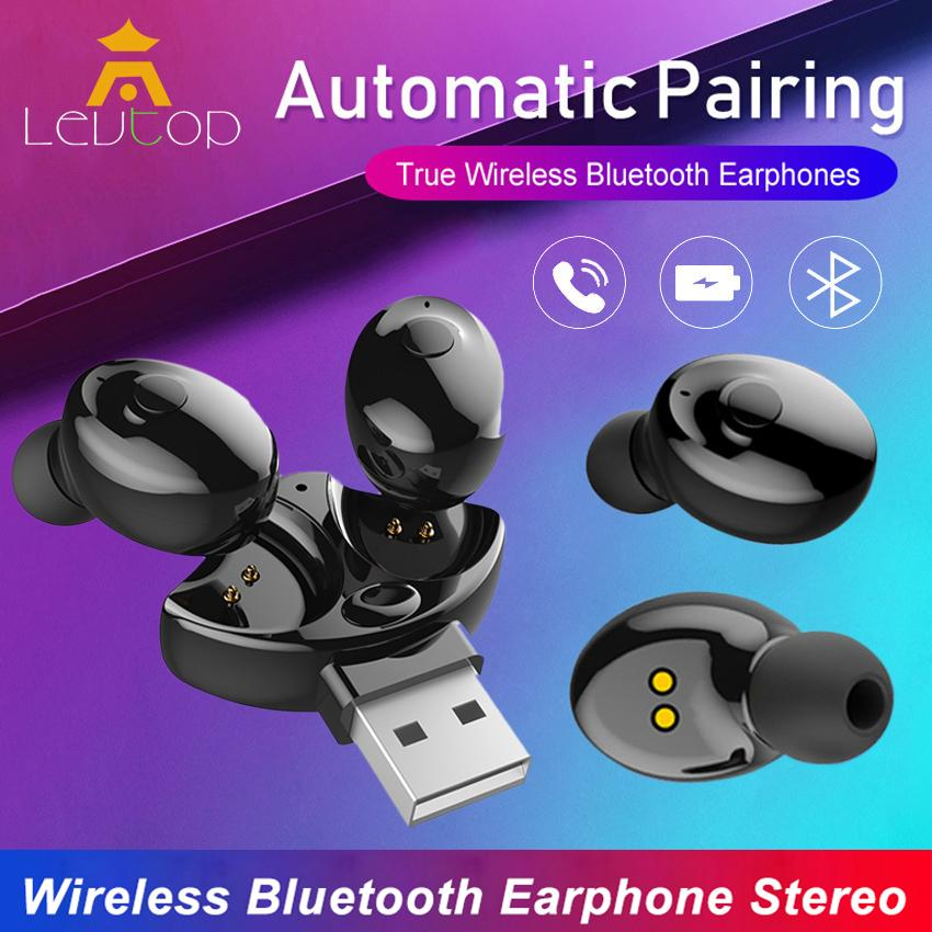 LEVTOP Truly Wireless Earbuds Bluetooth 5 0 Mini Sport Earphone In Ear  Headphones Stereo Noise Cancellation Headsets with Built-in Mic
