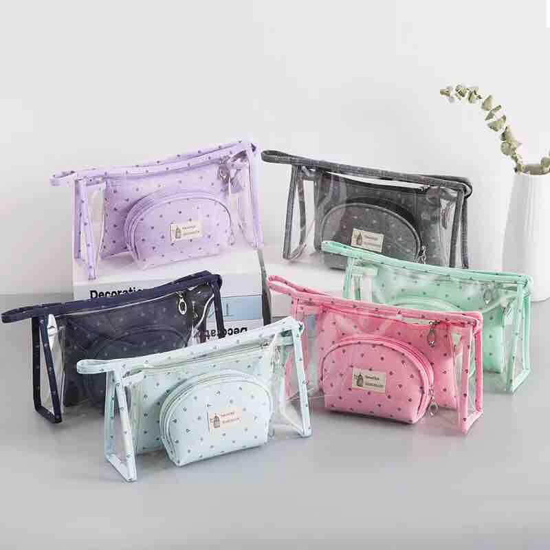 831a3ce0a01 3pcs Handmade Waterproof Cosmetic Translucent Makeup Pouch Travel Toiletry  Bag