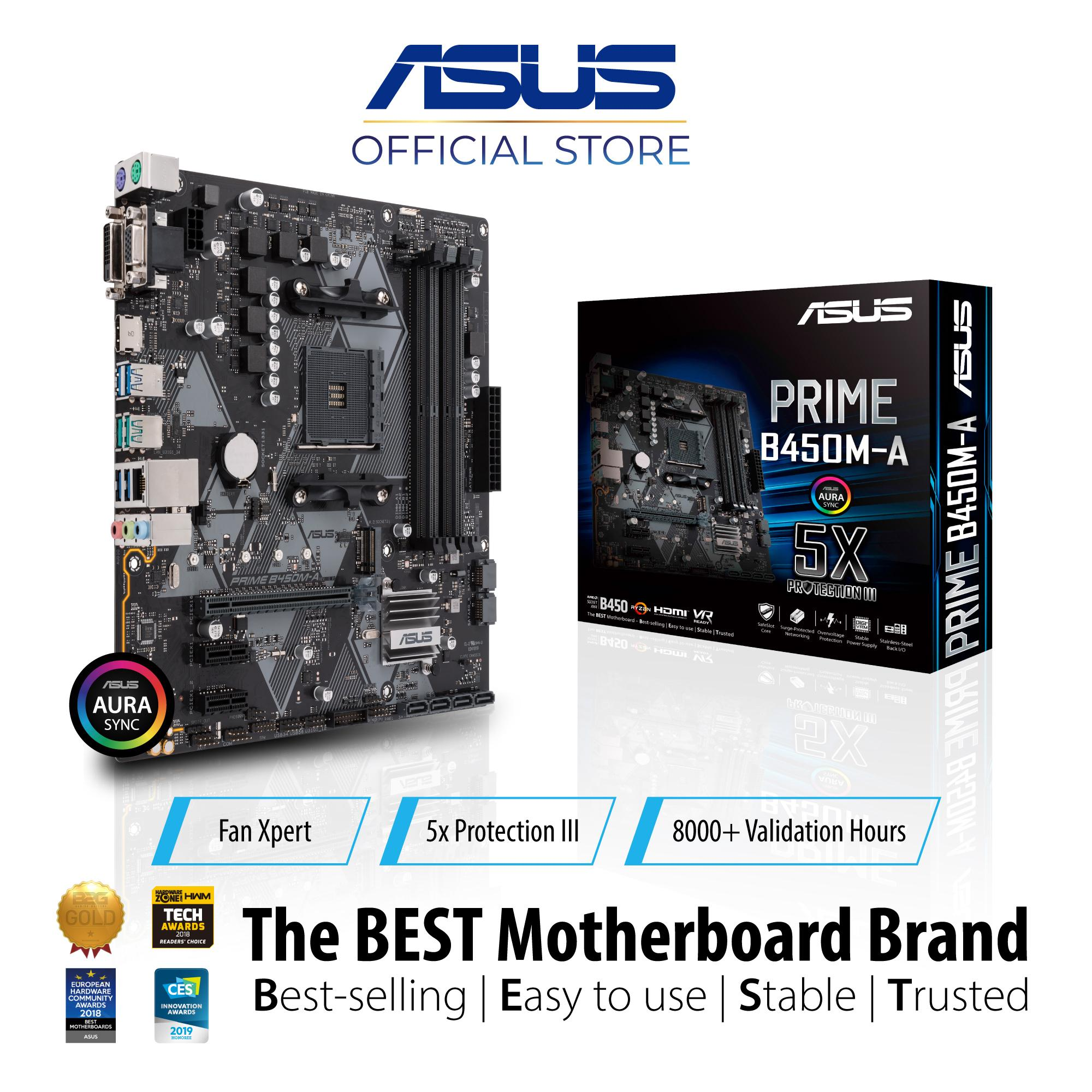 ASUS PRIME B450M-A AMD AM4 mATX motherboard with Aura Sync RGB header, DDR4  3200MHz, M 2, HDMI 2 0b, SATA 6Gbps and USB 3 1 Gen 2