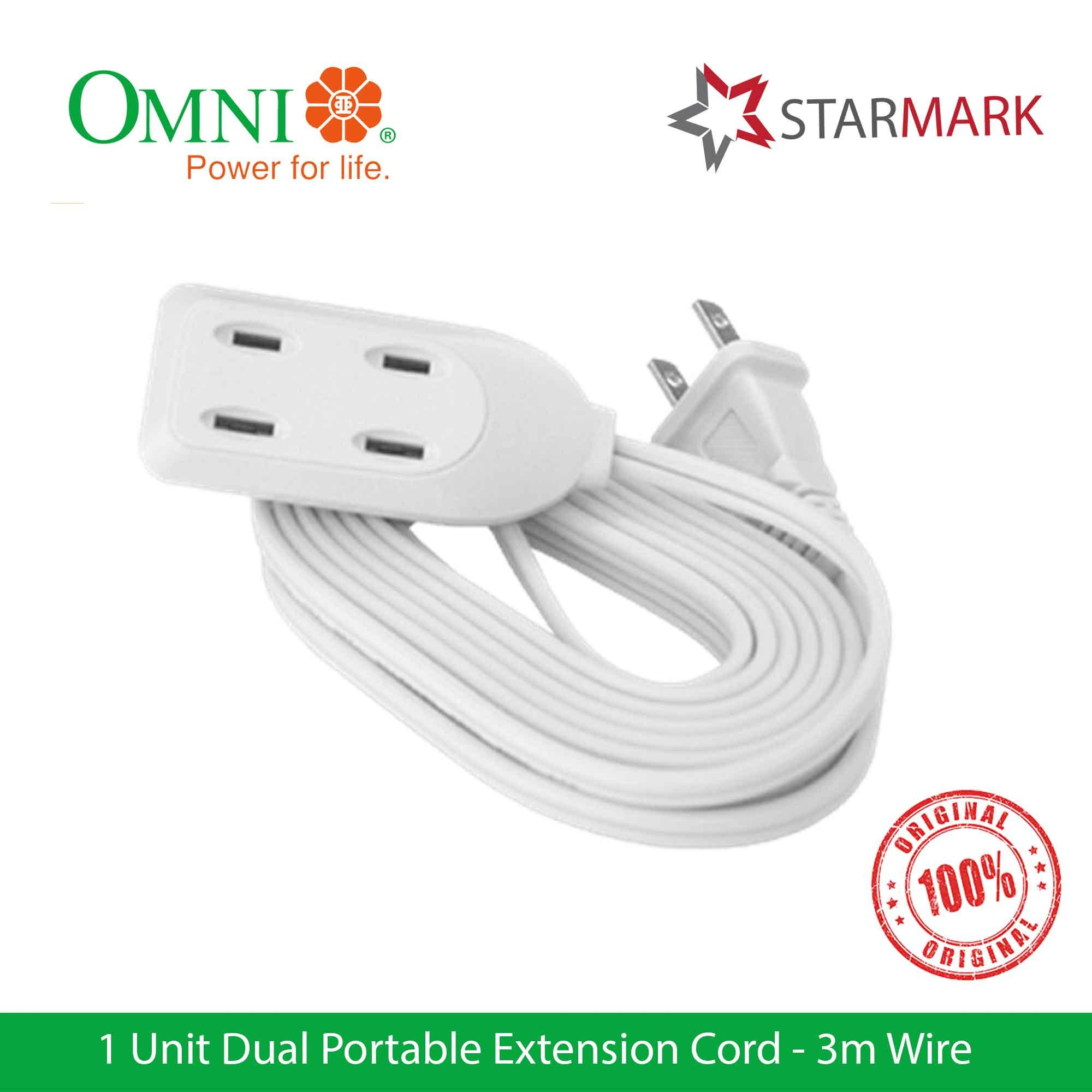 Omni Extension Cord Dual Portable 3 Meter Wire Wdp303 Wdp-303 - Genuine And Original By Starmark Enterprises.