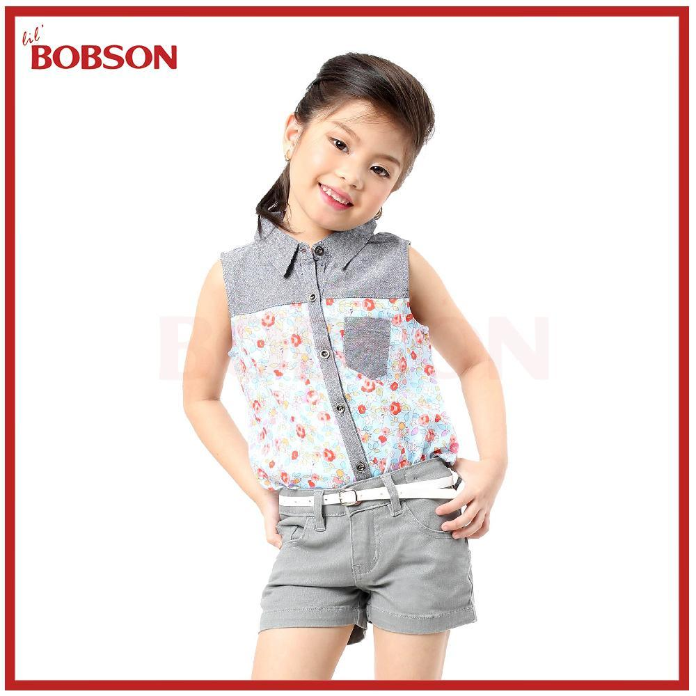 Lil Bobson Sofia Floral Woven Sleeveless Polo Shirt Blouse By Lil Bobson Ph.