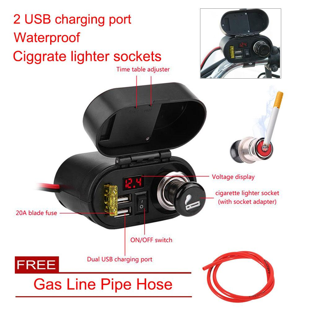 【free Gift + Limited Offer】universal Waterproof Motorcycle Dual Usb Phone Gps Charger Adapter By Wowgoow Mall.