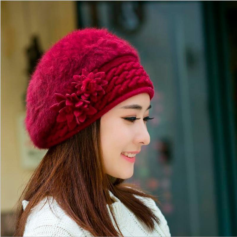 2943d0ab096aa Elegant Women Knitted Hats Rabbit Fur Cap Autumn Winter Berets Ladies Female  Skullies Beret Hat
