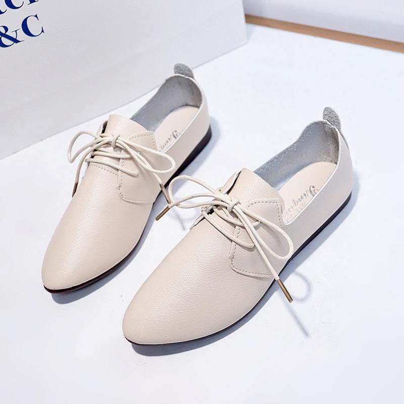 a062bcd48f 2019 Spring And Autumn New Style Vintage England Lace-up Pointed Small  Leather Shoes women