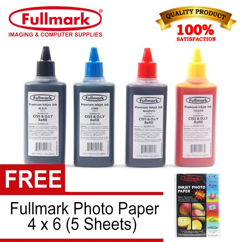 Fullmark Inkjet Dye Ink Universal Ink Continuous Ink Ciss And Diy Refill 100ml For Hp / Brother / Canon / Epson Printer, Set Of 4 Cmyk With Free Fullmark Photo Paper 4x6 By Trinity Marketing - Computers.
