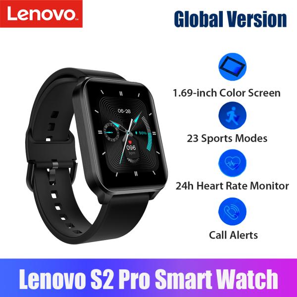 Phiên bản toàn cầu Đồng hồ thông minh Lenovo S2 Pro Vòng đeo tay thể thao Màn hình màu 1.69 inch BT Thể dục theo dõi với 23 chế độ thể thao / Chống nước IP67 / Màn hình nhịp tim 24h / Nhắc nhở cuộc gọi Tương thích với điện thoại Android iOS