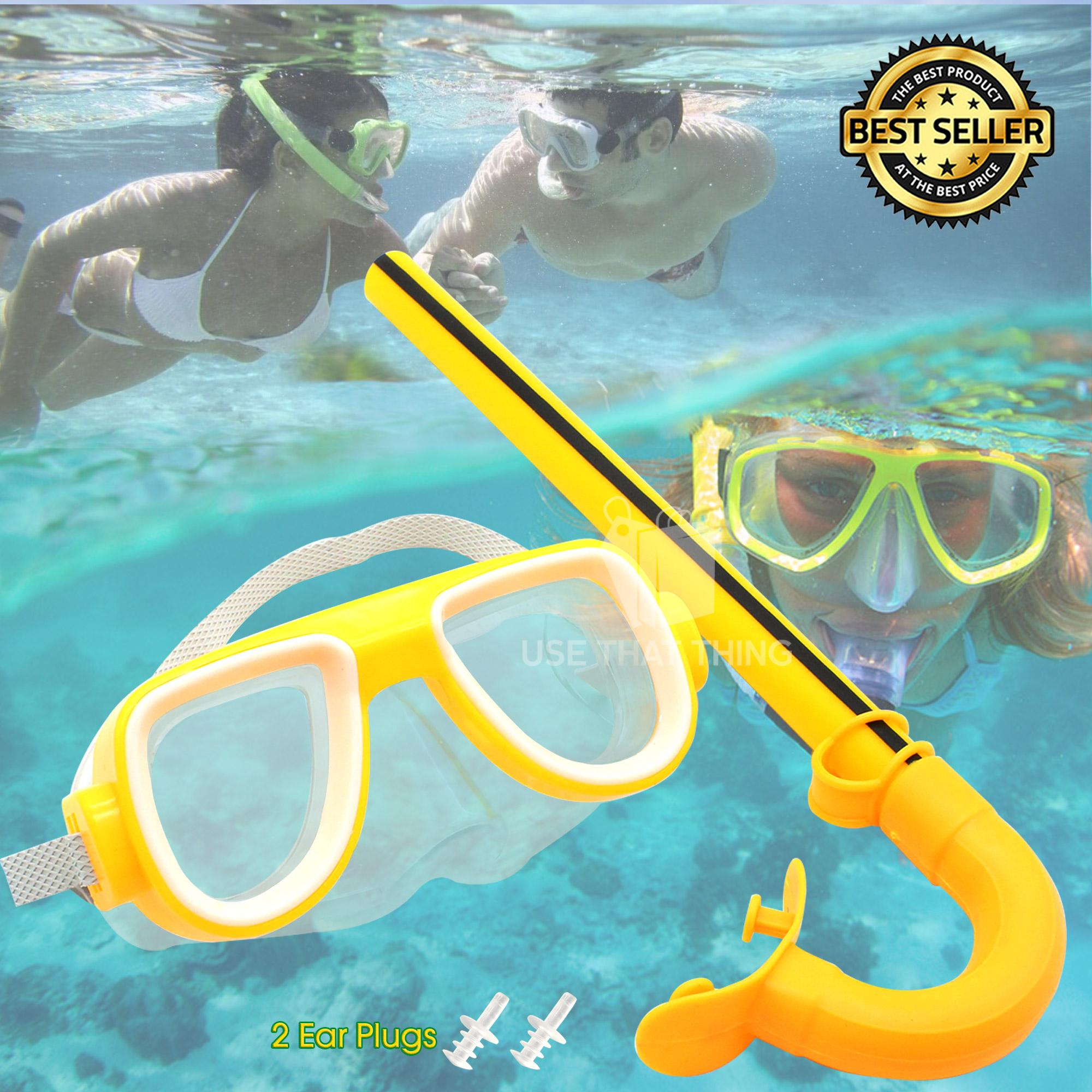 3IN1 Swimming Diving Protective Goggle Breathing Tube Snorkeling Mask Set 2 Ear Plugs